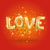 Gold love sparkles balloons. Gold letter love balloons on red. I love you. Valentines day card. Gold background for flyer, poster, sign, banner, web header Stock Photo