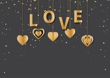 Gold love text and hanging hearts shape on black background. Happy valentine`s day greeting card with golden love text and hearts hanging on gold confetti and Royalty Free Stock Photo