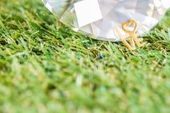 Gold love word in garden Stock Photos