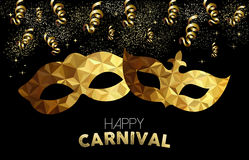 Gold low poly carnival masks with confetti Stock Image