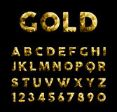 Gold low poly font typeface elegant numbers abc Stock Photos