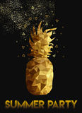 Gold low poly pineapple design for summer party Stock Photos