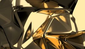 Gold Low Poly Shape Closeup Background Stock Photography