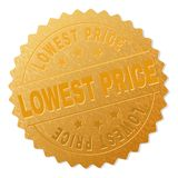 Gold LOWEST PRICE Medal Stamp. LOWEST PRICE gold stamp award. Vector golden award with LOWEST PRICE title. Text labels are placed between parallel lines and on royalty free illustration