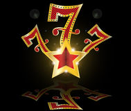 Gold lucky seven slot Machine Jackpot  Stock Image