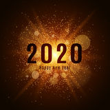 Gold luminous dust on a black background. Happy new year 2020. Cover for the calendar. Vector illustration. EPS 10 Stock Images