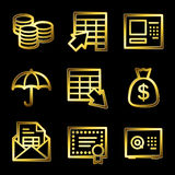Gold luxury banking web icons Stock Photo