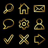 Gold luxury basic web icons V2 Royalty Free Stock Photography