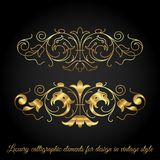 Gold luxury calligraphic elements for design in vintage style Stock Image