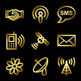 Gold luxury communication web icons V2 Royalty Free Stock Image
