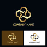 Gold luxury connection vector logo Royalty Free Stock Photo