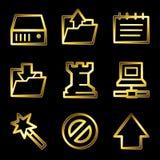 Gold luxury data web icons Royalty Free Stock Image