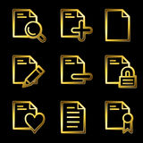 Gold luxury documents web icons. Gold luxury vector web icons, glossy contour Royalty Free Stock Photo