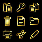 Gold luxury documents web icons Stock Photos
