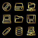 Gold luxury drives and storage web icons Vector Illustration