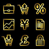 Gold luxury e-business web icons. Gold luxury vector web icons, glossy contour Royalty Free Stock Image