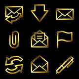 Gold luxury e-mail web icons Royalty Free Stock Photo