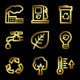 Gold luxury eco web icons Stock Photos