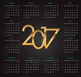 Gold 2017  luxury editable Calendar on the black background Royalty Free Stock Photography
