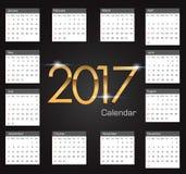 Gold 2017 luxury editable Calendar. On the black background illustration EPS10 vector illustration