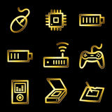 Gold luxury electronics web icons Royalty Free Stock Images