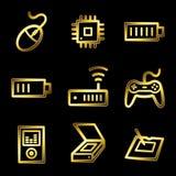 Gold luxury electronics web icons vector illustration
