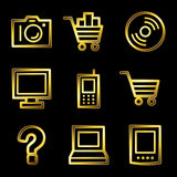 Gold luxury electronics web icons Royalty Free Stock Image