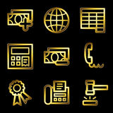 Gold luxury finance web icons. Gold luxury vector web icons, glossy contour Stock Image