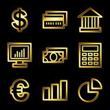 Gold luxury finance web icons. Gold luxury vector web icons, glossy contour Royalty Free Stock Image
