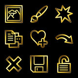 Gold luxury image viewer web icons. Gold luxury vector web icons, glossy contour Stock Image