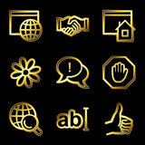Gold luxury internet communication web icons. Gold luxury vector web icons, glossy contour
