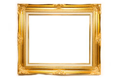 Gold luxury Louise photo frame over white background Royalty Free Stock Images