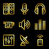 Gold luxury media web icons. Gold luxury vector web icons, glossy contour stock illustration