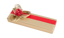 Gold luxury paper wrap gift box simple ribbon bow flower isolated Stock Photos