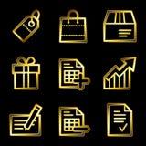 Gold luxury shopping web icons Stock Photo