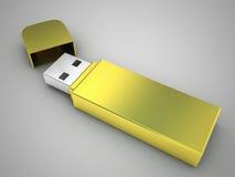 Gold luxury USB flash drive. 3d high quality render Stock Photo