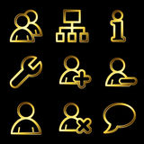 Gold luxury users web icons Royalty Free Stock Photos