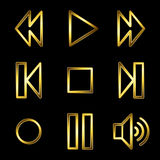 Gold luxury walkman web icons Royalty Free Stock Photos