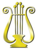 Gold lyre. Embossed Gold lyre on white background Royalty Free Stock Photos
