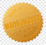 Gold MADE IN 2017 Medallion Stamp. MADE IN 2017 gold stamp medallion. Vector golden medal of MADE IN 2017 text. Text labels are placed between parallel lines and royalty free illustration