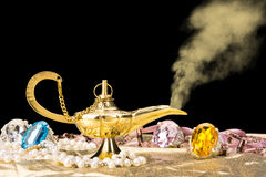 Gold magic lamp Royalty Free Stock Photo