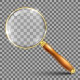 Gold magnifying glass – vector. Illustration Royalty Free Stock Photography