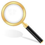 Gold magnifying glass Royalty Free Stock Photos