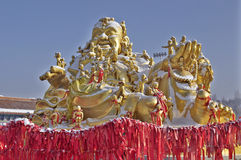 Gold maitreya statue Stock Photo