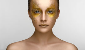 Gold Makeup Beauty Girl royalty free stock photography