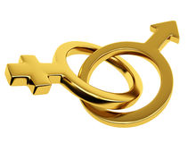 Gold male and female symbol Stock Image