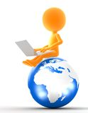 Gold man sitting on the globe. Gold icon man sitting on the globe with laptop. Internet, network, social media Royalty Free Stock Photography