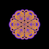 Gold Mandala. An abstract fractal mandala done in shades of gold and purple floating on a black background Stock Images