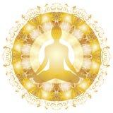Gold mandala yoga lotus pose silhouette isolated white background stock illustration