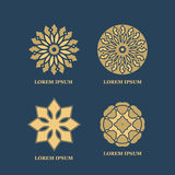 Gold mandalas or geometrical figures. Decorative element for ornament Royalty Free Stock Photos
